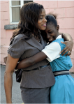 The wonderful sight of teacher and pupil reunited at the Alexandra School - Photo credit Barbados Advocate